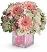 Baby's First Block - Pink     T37-2 fresh keepsake arrangement