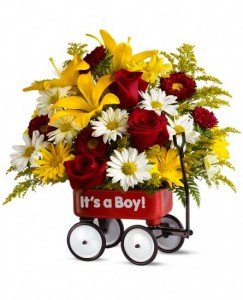 Baby's First Wagon - Boy Keepsake Wagon Arrangement in Warrington, PA | ANGEL ROSE FLORIST INC.