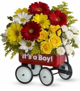 Babys Wow Wagon -Boy Keepsake Container Arrangement