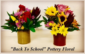 Back To School Pottery Fall Floral Arrangement in Plainview, TX | Kan Del's Floral, Candles & Gifts