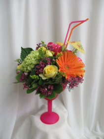 Bahama Mama Fresh Mixed Flowers in a Margarita Glass