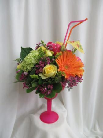 Bahama Mama Fresh Mixed Flowers in a Margarita Glass