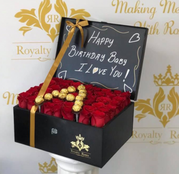 Bahul of Roses with Letter Inintial Ferrero Bahul Box of Roses