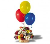 Balloons and Blossoms Basket     OT42-1 Fresh Floral Arrangement With Balloons