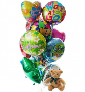 Balloons & Bear Stuffed animal with Mylar balloons