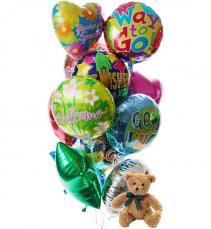 Balloons & Bear Stuffed animal with Mylar balloons