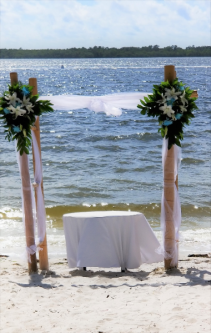 Bamboo  Arch Bridal Arrangements