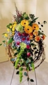 Barbed Wire Wreath Standing Spray