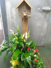 Barnwood birdhouse planter