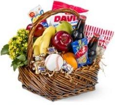 Baseball Lovers Gift Basket With Fruit Gourmet Gift Basket