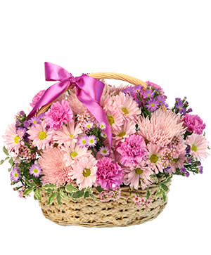 Gentle Dreams Basket Arrangement in Greenville, SC | GREENVILLE FLOWERS AND PLANTS