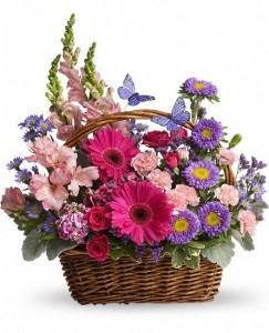 Basket Blooms Mixed Flower Basket