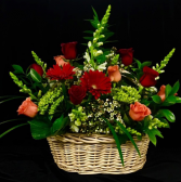 Basket Full Of Love 12 Assorted Colored Roses with Mixed Flowers