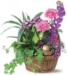 Basket Garden with a Bird  Accented with Fresh Cut Flowers TF111-2