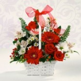 Basket in red mixed bouquet