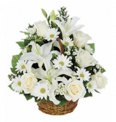 Basket in White Funeral Flowers