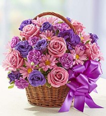 Basket of Blooms  Purple Daisys and Roses