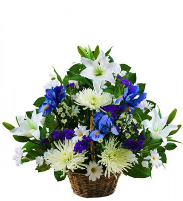 Basket of Blue Fresh Arrangement