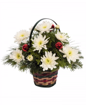 Basket of Christmas Cheer Fresh Flowers in Canon City, CO | TOUCH OF LOVE FLORIST AND WEDDINGS