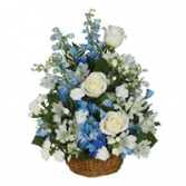 Basket of Dreams in Blue and White Delphinium with White Floral Acents