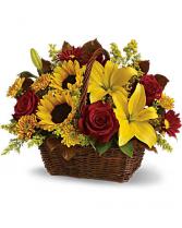 Basket Of Gold Flower Arrangement