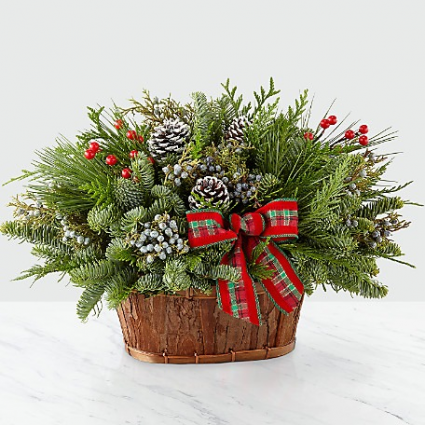 Basket of Happy Holiday Greens Christmas
