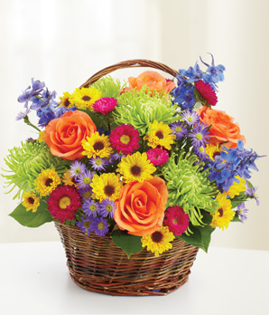 Basket of Joy Basket Arrangement in Lebanon, NH | LEBANON GARDEN OF EDEN FLORAL SHOP