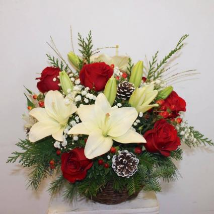 Basket of Lilies and Roses