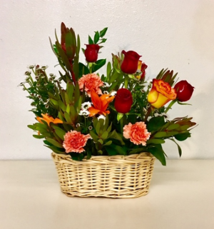 Basket of Love Mixed Colors of FLoral in Plainview, TX | Kan Del's Floral, Candles & Gifts