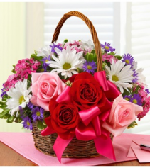 Basket of Love with Roses Arrangement