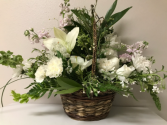 Basket of Multi White Flowers Easter