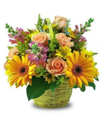 Basket Of Peach, Pink And Yellow Basket Arrangement