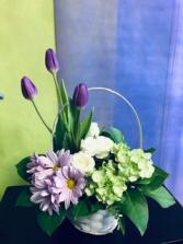 basket of spring Flower Arrangement