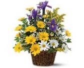 Basket of Spring Fresh Flowers