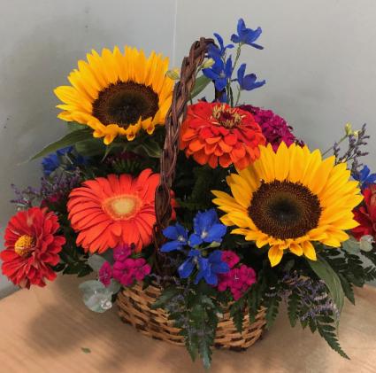 Basket of Summer Blooms fresh basket arrangement