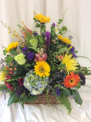 Basket of Sunshine by Lovell's  in Medfield, MA | Lovell's Florist, Greenhouse & Nursery