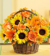 Basket of Sunshine Sunflowers, Lillie's and Roses!