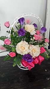 Silk Basket Style - feminine  Funeral Arrangement