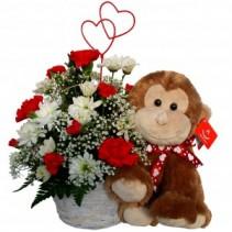 Basket W-Monkey Valentines Day Arrangement