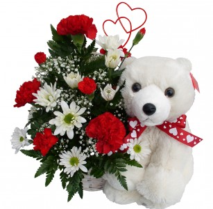 Basket W/White Bear Valentines Day Arrangement
