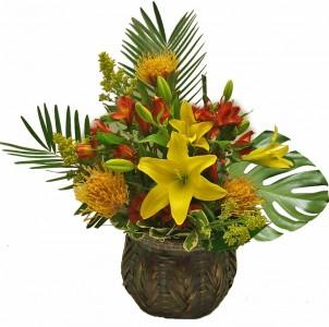 Basketful of Tropics  Cut flowers in oasis in basket