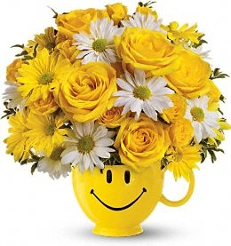 BE HAPPY BOUQIET CERAMIC PLANTER in New Port Richey, FL | FLOWERS TODAY FLORIST