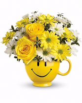 be happy bouquet smily face cup bouquet