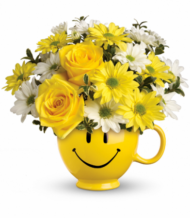 Be Happy Bouquet with Roses One-Sided Floral Arrangement