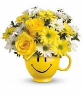 ** Temporally Sold Out **Be Happy Mug Arrangement T43-1A in Hesperia, California | ACACIA'S COUNTRY FLORIST