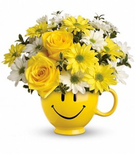 Be Happy Mug Arrangement T43-1A in Hesperia, CA | ACACIA'S COUNTRY FLORIST