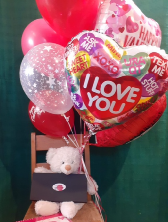 Be Mine Bouquet Balloons, Stuffed Animal & Chocolates