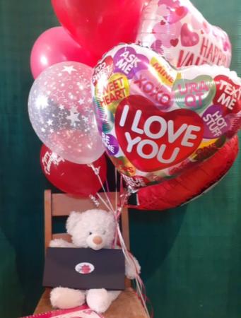 Be Mine Bouquet Balloons, Stuffed Animal & Chocolates