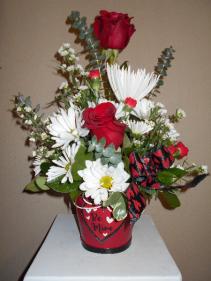 Be Mine Bouquet Container arrangement
