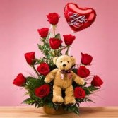 I Love You Bouquet Roses and Balloon and Bear